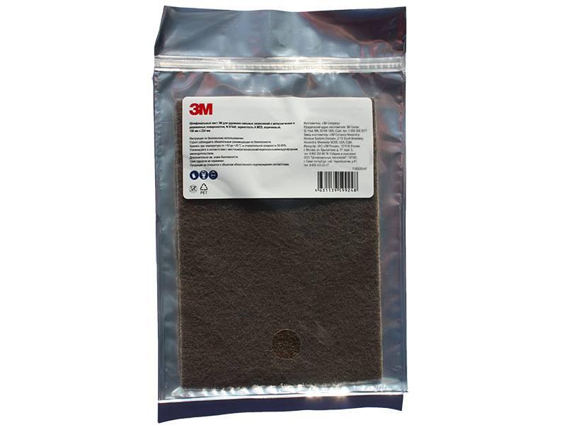 фото 3M™ Scotch-Brite™ Шлифовальный Лист для удаления сильных загрязнений A MED коричневый 158 мм х 224 мм