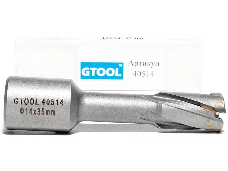 фото Корончатое сверло по металлу GTOOL G-Cut HM Weldon19 глубина 35мм, диаметр 14мм