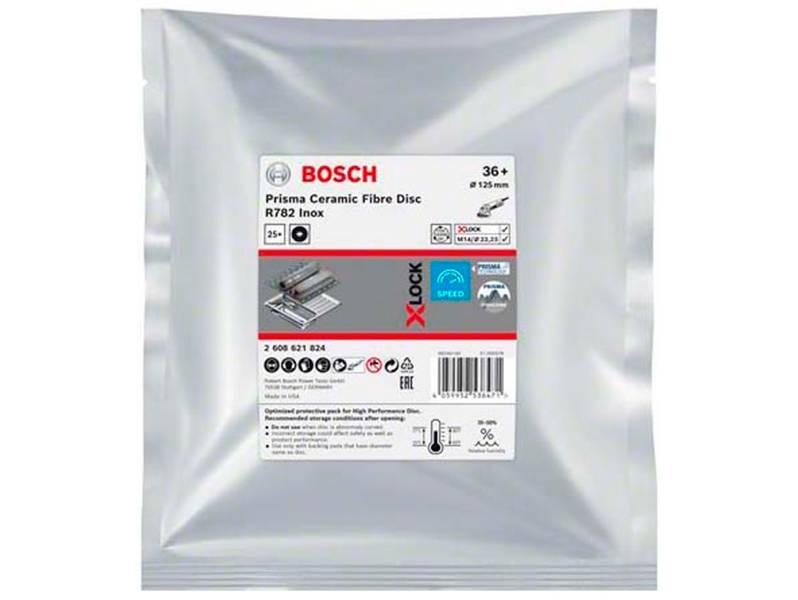 фото Фибровый шлифкруг Bosch X-LOCK Prisma Ceramic R782 Inox d125мм, зерно P36, уп-ка 25шт