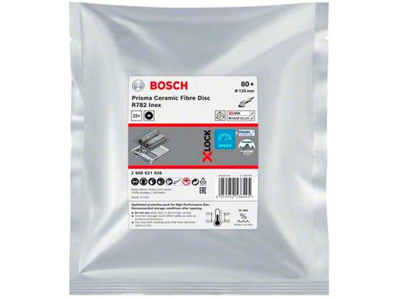 фото Фибровый шлифкруг Bosch X-LOCK Prisma Ceramic Fibre Disc R782 Inox d125мм, зерно P80